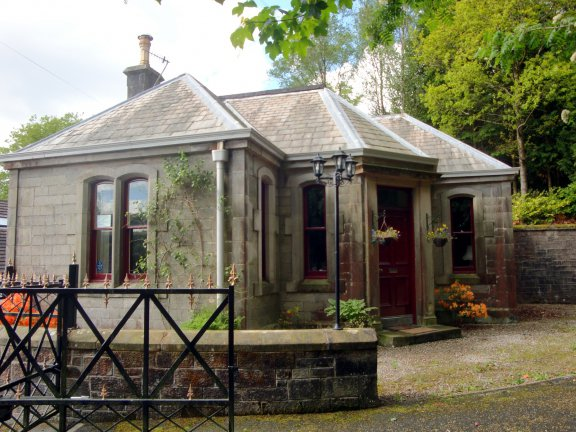 Stone built lodge house in Langholm