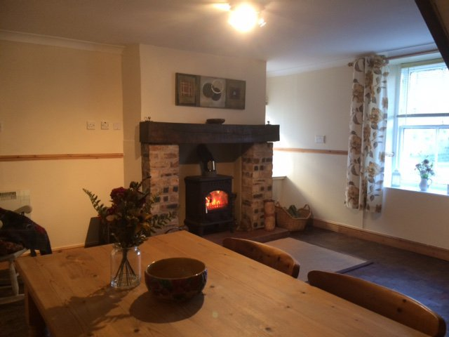 Living/dining room with multi-fuel stove